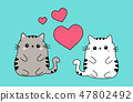 Two cute fat white and beige cat couple in love, anime kawaii style isolated on blue background 47802492