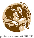 Happy hugging people couple in love. 47809891