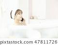 年輕女子,浴,淋浴,浴室 47811726