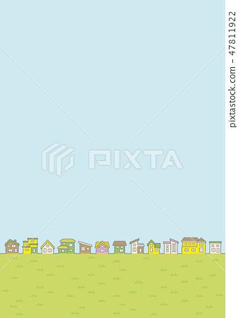 春天國家景觀(家庭行和天空和草原)的插圖 47811922