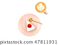 Strawberry shortcake and coffee 47811931