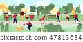 People Activities in City Park Flat Vector Concept 47813684