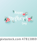 Mother's day greeting card with blossom . 47813869