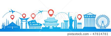 Map Pointer Over Famous Seoul Landmarks Travel Route Planning Tourism Destinations Concept 47814781