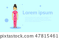 Japanese Woman Wearing Traditional Costume Over Template Background With Copy Space 47815461