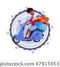 Woman Deliver Food Riding Retro Scooter Delivery Icon Isolated Template Logo 47815653