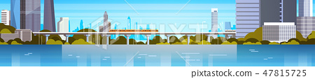 Modern City Panorama With High Skyscrapers And Subway Cityscape Background Horizontal Banner 47815725