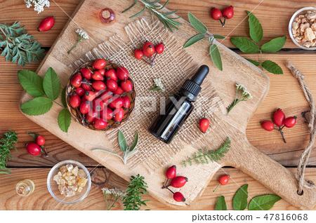 A bottle of rosehip seed oil with rose hips 47816068