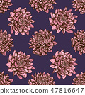 Seamless pattern with hand drawn colored aster 47816647