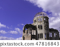 Hiroshima Aozora and A-Bomb Dome Copy Space 47816843