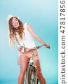 woman, biking, bike 47817856