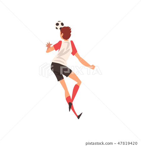 3823e689a Soccer Player Shooting Ball with Head, Football Player Character in  Uniform, Back View Vector