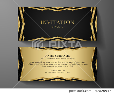 Luxurious VIP Invitation template with gold, black - Stock ...