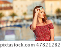 Beautiful woman traveling alone. Croatia. Hvar 47821282