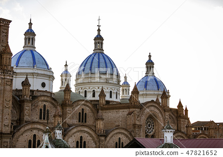 Domes of New Cathedral tower over Cuenca, Ecuador 47821652