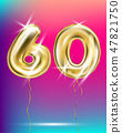 Number sixty, gold foil balloon on gradient 47821750