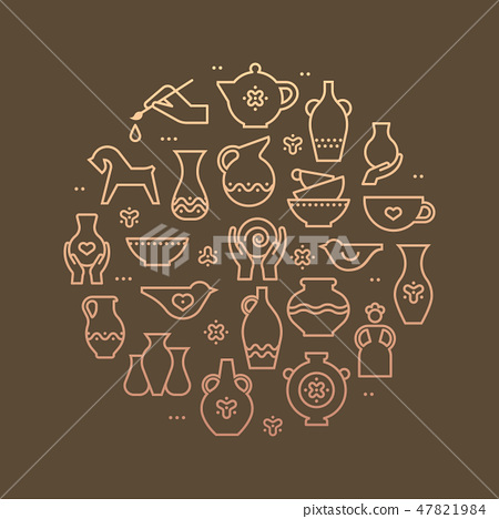 Art shop circle template. Pottery workshop, ceramics classes banner illustration. Hand building, 47821984