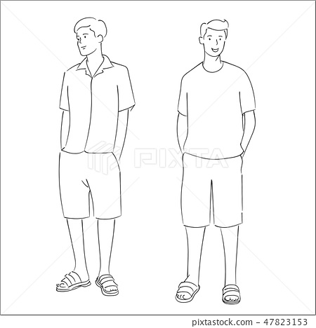 Men standing for summer fashion style, hand drawn  47823153