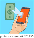 Hand gives money from smartphone screen 47823155