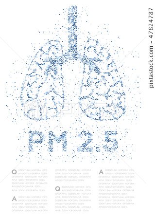 Lung with PM 2.5 text Abstract Cross pattern 47824787