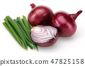 Red Onion and Fresh Scallion 47825158
