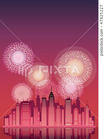 大城市和煙花的背景例證 47825227