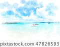 오키나와 민나 섬의 바다 수채화 화풍 47826593