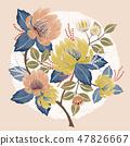 잎, 벡터, 파스텔 47826667