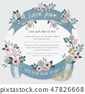 Vector illustration of a floral frame with ribbons 47826668