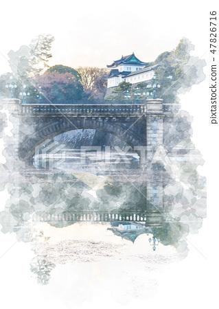 Main gate stone bridge watercolor style 47826716
