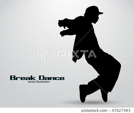 Silhouette of a break dancer. 47827463