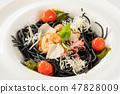 fine cuisine fresh black tagliolini chicken tomato 47828009