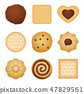 Different shapes of eating biscuit home made cookies, food for breakfast vector set 47829561