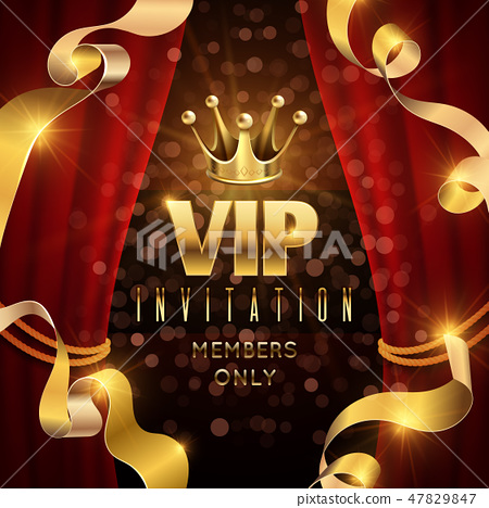 Elegance and exclusive party vector invitation with golden luxury crown 47829847