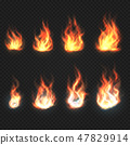 Isolated fire flames, power and energy symbols vector set 47829914