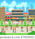 People walking on city street with urban cityscape vector illustration 47830001