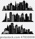 建筑 城镇 侧影 47830008