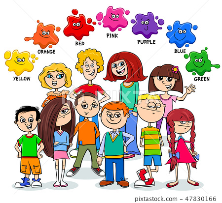 basic colors educational page with children 47830166