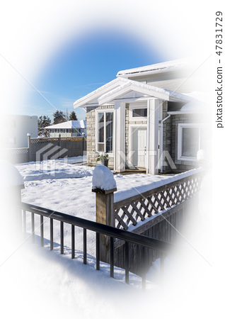 Entrance of new stylish family house in snow on winter season in Canada 47831729