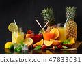 lemon, orange and strawberry juice on black 47833031