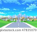 城市道路住宅區城市藍天風景 47835070