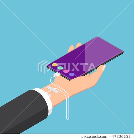 Isometric businessman addicted to smartphone 47836155