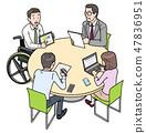 일본 유니버설 매너 매너 협회 감수 소재 휠체어에서 일하는 47836951