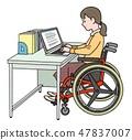 일본 유니버설 매너 매너 협회 감수 소재 휠체어에서 일하는 47837007