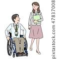 일본 유니버설 매너 매너 협회 감수 소재 휠체어에서 일하는 47837008
