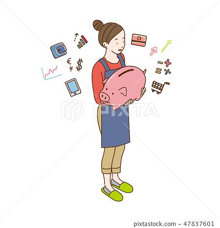 有存錢罐的一位女性等量以圖例解釋者主婦 47837601