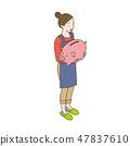 與等量存錢罐的主婦的一個女性例證 47837610
