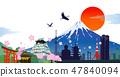 日本的標誌和櫻花例證的季節 47840094