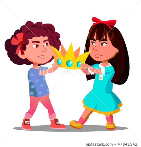 Two Little Girls Pulling Out The Crown From Hands Of Each Other Vector. Isolated Illustration 47841542