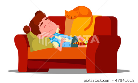 Tired Little Girl Sleeping On The Couch Next To Sleeping Cat Vector. Isolated Illustration 47841618